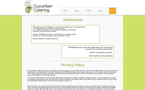 Screenshot of Privacy Page Testimonials Page cucumbercatering.co.uk - Cucumber Catering - Kent Science Park - Order Online - captured Oct. 23, 2014