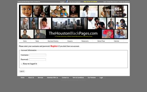 Screenshot of Login Page thehoustonblackpages.com - Log In - captured Oct. 7, 2014