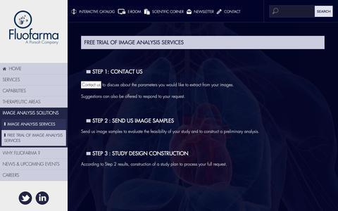 Screenshot of Trial Page fluofarma.com - IMAGE ANALYSIS SOLUTIONS - FREE TRIAL OF IMAGE ANALYSIS SERVICES - FLUOFARMA - captured Nov. 6, 2018