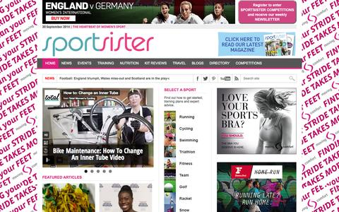 Screenshot of Home Page sportsister.com - Sportsister - The sports magazine for women - captured Sept. 22, 2014