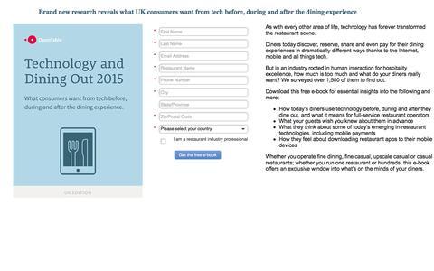 Screenshot of Landing Page opentable.com captured Oct. 29, 2016