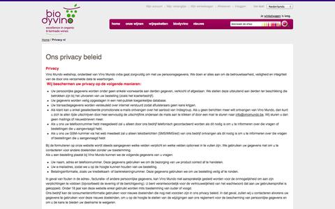 Screenshot of Privacy Page biodyvino.be - Biodyvino Privacy nl Excellence in organic & fairtrade wines - captured Sept. 30, 2014