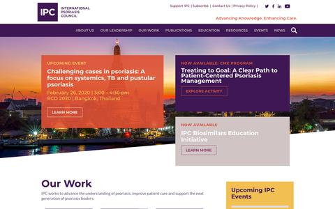 Screenshot of Home Page psoriasiscouncil.org - Home page - International Psoriasis Council - captured Feb. 10, 2020