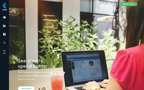 Screenshot of Home Page getcake.com - Performance Marketing Software | CAKE - captured Sept. 16, 2015