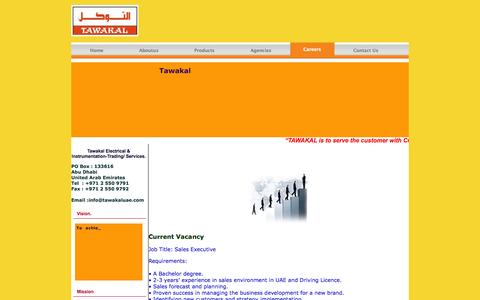 Screenshot of Jobs Page tawakaluae.com - Tawakal  Electrical Equipment Trading - captured Oct. 26, 2014