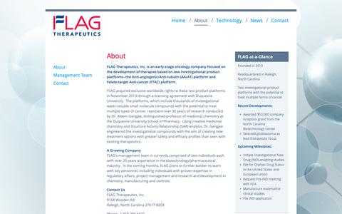 Screenshot of About Page flagtherapeutics.com - About | FLAG Therapeutics - captured Oct. 10, 2018