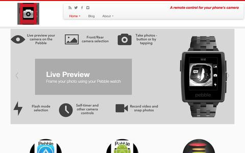 Screenshot of Home Page pebblesnap.com - Pebble Snap | A remote control for your phone's camera - captured Oct. 2, 2014