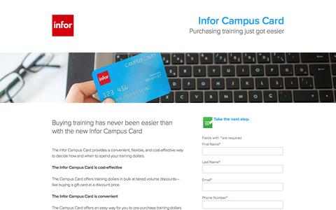 Screenshot of Landing Page infor.com - Infor Campus Card - captured Aug. 19, 2016