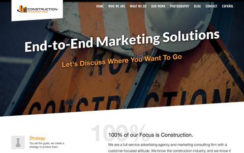 Screenshot of Home Page construction.marketing - Construction Industry | Ad Agency | Marketing - captured Sept. 29, 2018