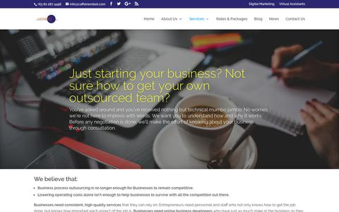 Screenshot of Services Page caffeinerobot.com - Services | CoffeeBot Solutions - captured Sept. 28, 2018