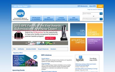 Screenshot of Home Page ispe.org - International Society for Pharmaceutical Engineering   ISPE   GMP - captured Sept. 19, 2014
