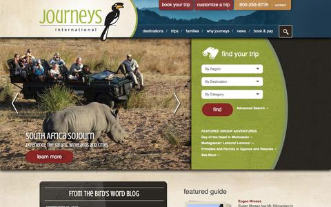Screenshot of Home Page journeysinternational.com - Journeys International - captured Oct. 4, 2017