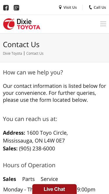 Screenshot of Contact Page  dixietoyota.com - Contact Dixie Toyota dealership @ (905) 238-6000