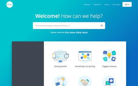 Screenshot of Support Page canva.com - Canva Help Center - captured April 14, 2018