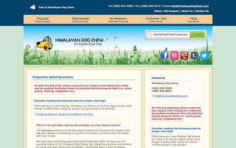 Screenshot of FAQ Page himalayandogchew.com - Himalayan Dog Chew - captured Sept. 30, 2014