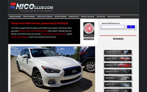 Screenshot of Home Page nicoclub.com - NICOclub - The Nissan and Infiniti enthusiast community - Repairs, modifications, resources and much more! - captured Sept. 4, 2019