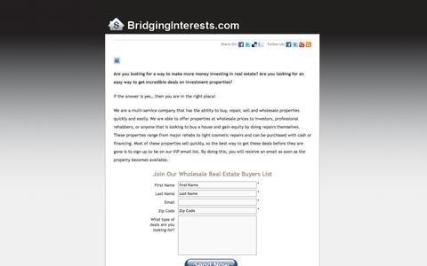 Screenshot of Signup Page bridginginterests.com - Wholesale Buyers  :  Bridging Interests, LLC - captured Oct. 5, 2014