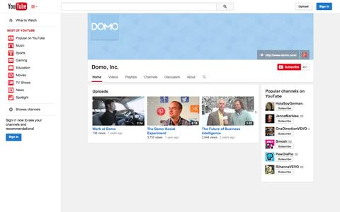 Screenshot of YouTube Page youtube.com - Domo, Inc.  - YouTube - captured Oct. 22, 2014