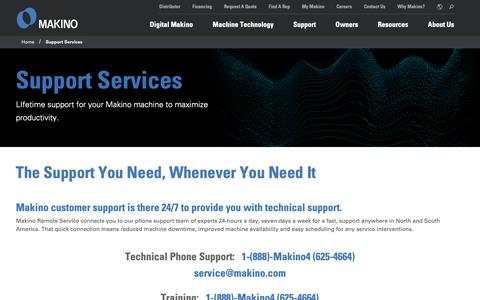 Screenshot of Support Page makino.com - Support Services   Makino - captured June 19, 2019