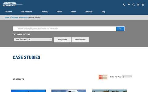 Screenshot of Case Studies Page indsci.com - Case Studies - captured July 9, 2019