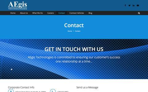 Screenshot of Contact Page aegistg.com - AEgis Contacts - captured Aug. 30, 2017