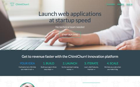 Screenshot of Home Page chimi.co - ChimiChurri - Launch SaaS, Marketplace, and other web applications at startup speed - captured July 8, 2018