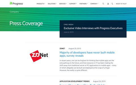 Screenshot of Press Page progress.com - Press Coverage - Page 21 - captured July 17, 2019