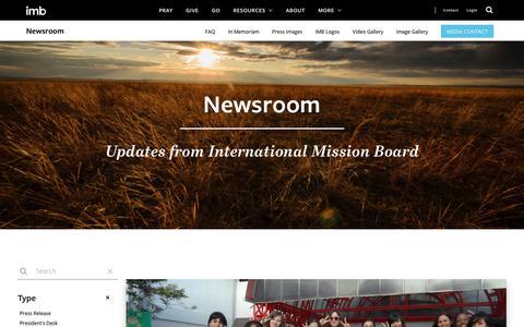 Screenshot of Press Page imb.org - Newsroom - captured Nov. 24, 2019