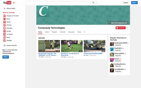 Screenshot of YouTube Page youtube.com - Compuquip Technologies  - YouTube - captured Oct. 22, 2014