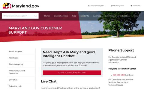 Screenshot of Contact Page maryland.gov - Maryland.gov Customer Support - Maryland.gov - captured Nov. 15, 2019
