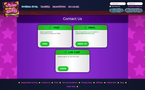Screenshot of Contact Page wizardslots.com - Contact Us | Wizard Slots - captured July 7, 2018