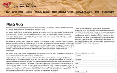 Screenshot of Privacy Page doorstepdelivery.com - » Privacy Policy Restaurant Delivery, Food Delivery: Doorstep Delivery Order Online! - captured June 24, 2017