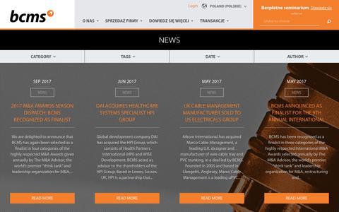 Screenshot of Press Page bcms.com - News | Poland - captured Oct. 9, 2017