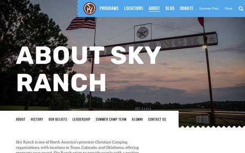 Screenshot of About Page skyranch.org - About | Sky Ranch Christian Camps - captured Oct. 19, 2018