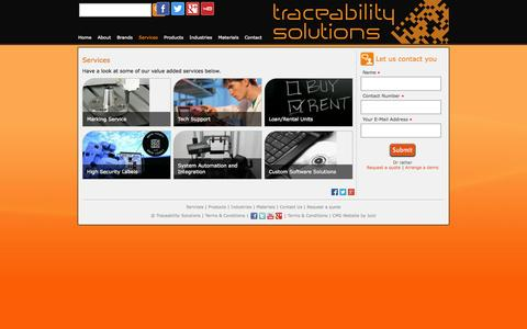 Screenshot of Services Page tracesol.co.za - Services — Traceability Solutions - captured Oct. 6, 2014