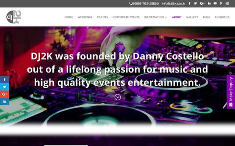 Screenshot of About Page dj2k.co.uk - About - DJ2K - captured Oct. 7, 2018
