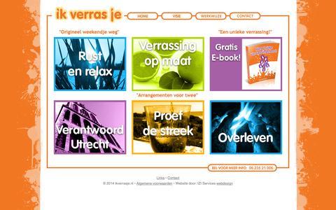 Screenshot of Home Page ikverrasje.nl - Home - bijzondere overnachtingen, een verrassing, een weekend weg kado en vele originele arrangementen - captured Sept. 30, 2014