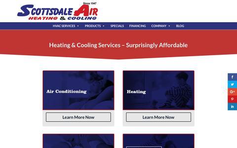 Screenshot of Services Page scottsdaleair.com - #1 Heating & Cooling Services in Scottsdale & Phoenix AZ Since 1947 - captured Jan. 16, 2020
