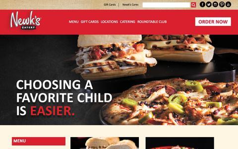 Screenshot of Menu Page newks.com - Dine-In Menu - Newk's Eatery - Best Soups, Sandwich Menu, Salad Menu, Pizza, Office Catering - captured Oct. 30, 2017