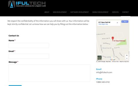 Screenshot of Contact Page ifultech.com - Contact Page - ifultech - captured Aug. 7, 2016