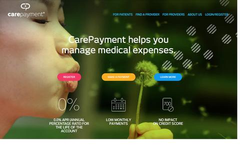Screenshot of Home Page carepayment.com - CarePayment Helps You Manage Medical Expenses | Patient Financing - captured June 29, 2016