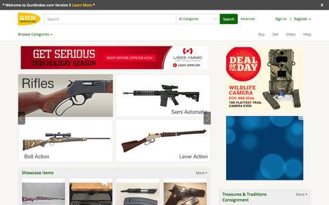 Screenshot of Home Page gunbroker.com - Guns for Sale - Online Gun Auction - Buy Guns at GunBroker.com - captured Dec. 16, 2015