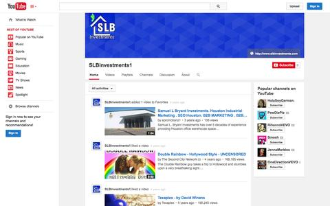 Screenshot of YouTube Page youtube.com - SLBinvestments1  - YouTube - captured Oct. 23, 2014