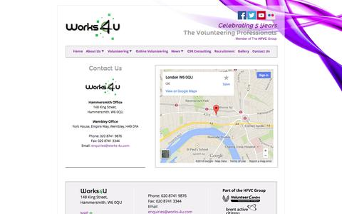 Screenshot of Contact Page Maps & Directions Page works-4u.com - Works4U - Contact Us - captured Oct. 26, 2014