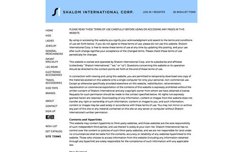 Screenshot of Terms Page shalomint.com - Site Terms » Shalom International Corp. » - captured Oct. 26, 2014