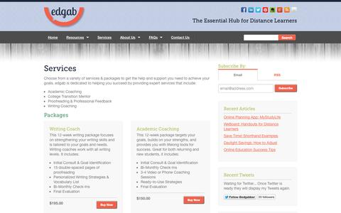 Screenshot of Services Page edgab.com - Services  |  Edgab - captured Sept. 30, 2014