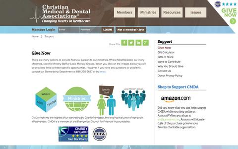 Screenshot of Support Page cmda.org - Support : Christian Medical & Dental Associations - captured Oct. 2, 2014