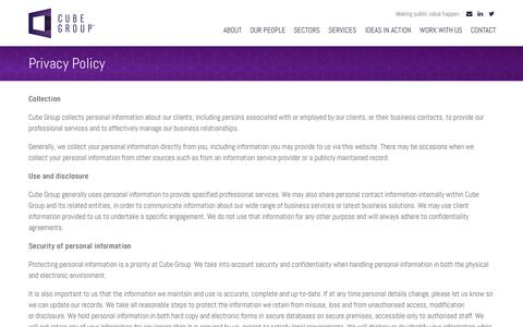 Screenshot of Privacy Page cubegroup.com.au - Privacy Policy - Cube Group - captured Nov. 2, 2014