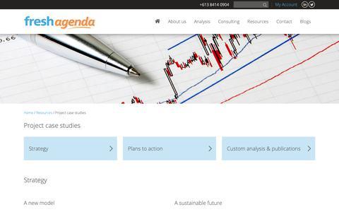 Screenshot of Case Studies Page freshagenda.com.au - Freshagenda: decision making tools, food market analysis - captured Nov. 6, 2018