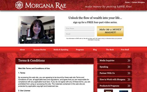 Screenshot of Terms Page morganarae.com - Terms & Conditions | Morgana Rae & Charmed Life Coaching, Inc. - captured Oct. 1, 2018